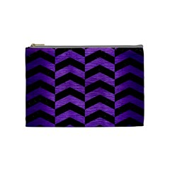 Chevron2 Black Marble & Purple Brushed Metal Cosmetic Bag (medium)  by trendistuff