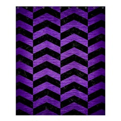 Chevron2 Black Marble & Purple Brushed Metal Shower Curtain 60  X 72  (medium)  by trendistuff