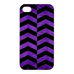 Chevron2 Black Marble & Purple Brushed Metal Apple Iphone 4/4s Hardshell Case by trendistuff