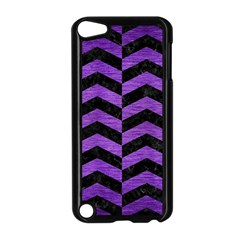 Chevron2 Black Marble & Purple Brushed Metal Apple Ipod Touch 5 Case (black) by trendistuff