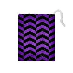 Chevron2 Black Marble & Purple Brushed Metal Drawstring Pouches (medium)  by trendistuff
