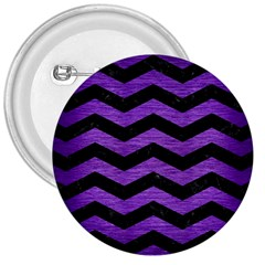 Chevron3 Black Marble & Purple Brushed Metal 3  Buttons by trendistuff
