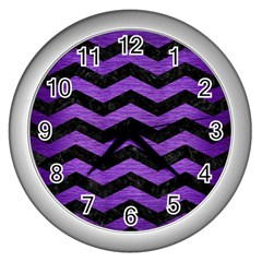 Chevron3 Black Marble & Purple Brushed Metal Wall Clocks (silver)  by trendistuff