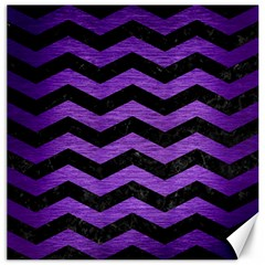 Chevron3 Black Marble & Purple Brushed Metal Canvas 16  X 16   by trendistuff