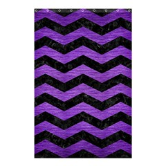 Chevron3 Black Marble & Purple Brushed Metal Shower Curtain 48  X 72  (small)  by trendistuff