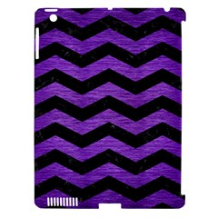 Chevron3 Black Marble & Purple Brushed Metal Apple Ipad 3/4 Hardshell Case (compatible With Smart Cover) by trendistuff