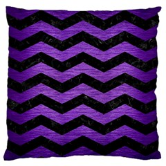 Chevron3 Black Marble & Purple Brushed Metal Large Cushion Case (one Side) by trendistuff