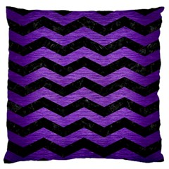 Chevron3 Black Marble & Purple Brushed Metal Large Flano Cushion Case (two Sides) by trendistuff