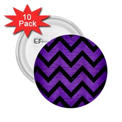 Chevron9 Black Marble & Purple Brushed Metal 2 25  Buttons (10 Pack)  by trendistuff
