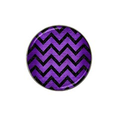 Chevron9 Black Marble & Purple Brushed Metal Hat Clip Ball Marker (10 Pack) by trendistuff