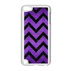 Chevron9 Black Marble & Purple Brushed Metal Apple Ipod Touch 5 Case (white) by trendistuff