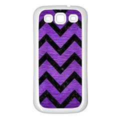 Chevron9 Black Marble & Purple Brushed Metal Samsung Galaxy S3 Back Case (white) by trendistuff
