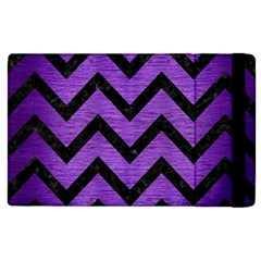 Chevron9 Black Marble & Purple Brushed Metal Apple Ipad Pro 12 9   Flip Case by trendistuff
