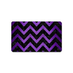 Chevron9 Black Marble & Purple Brushed Metal (r) Magnet (name Card) by trendistuff