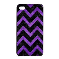 Chevron9 Black Marble & Purple Brushed Metal (r) Apple Iphone 4/4s Seamless Case (black)