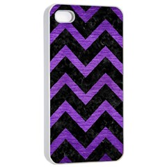 Chevron9 Black Marble & Purple Brushed Metal (r) Apple Iphone 4/4s Seamless Case (white) by trendistuff