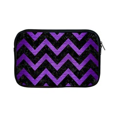 Chevron9 Black Marble & Purple Brushed Metal (r) Apple Ipad Mini Zipper Cases by trendistuff