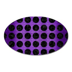 Circles1 Black Marble & Purple Brushed Metal Oval Magnet by trendistuff