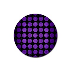 Circles1 Black Marble & Purple Brushed Metal (r) Rubber Coaster (round)  by trendistuff