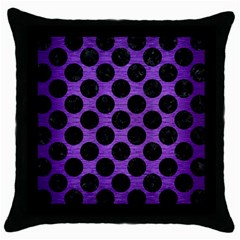 Circles2 Black Marble & Purple Brushed Metal Throw Pillow Case (black) by trendistuff