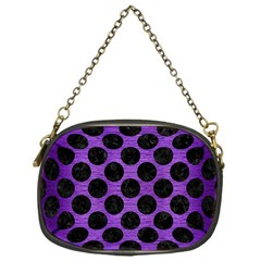 Circles2 Black Marble & Purple Brushed Metal Chain Purses (one Side)  by trendistuff