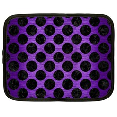 Circles2 Black Marble & Purple Brushed Metal Netbook Case (xl)  by trendistuff