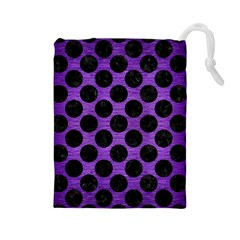 Circles2 Black Marble & Purple Brushed Metal Drawstring Pouches (large)  by trendistuff