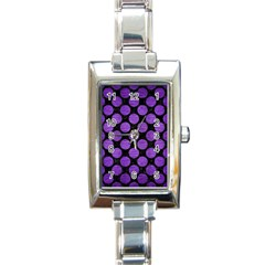 Circles2 Black Marble & Purple Brushed Metal (r) Rectangle Italian Charm Watch by trendistuff