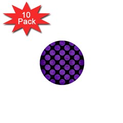 Circles2 Black Marble & Purple Brushed Metal (r) 1  Mini Buttons (10 Pack)  by trendistuff