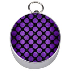 Circles2 Black Marble & Purple Brushed Metal (r) Silver Compasses by trendistuff