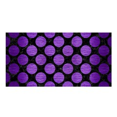 Circles2 Black Marble & Purple Brushed Metal (r) Satin Shawl by trendistuff