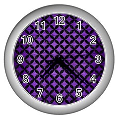 Circles3 Black Marble & Purple Brushed Metal Wall Clocks (silver)  by trendistuff