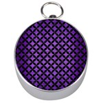 CIRCLES3 BLACK MARBLE & PURPLE BRUSHED METAL Silver Compasses Front