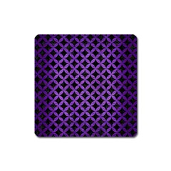 Circles3 Black Marble & Purple Brushed Metal (r) Square Magnet by trendistuff
