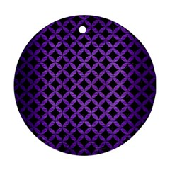 Circles3 Black Marble & Purple Brushed Metal (r) Round Ornament (two Sides) by trendistuff