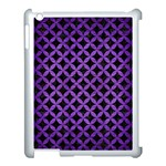 CIRCLES3 BLACK MARBLE & PURPLE BRUSHED METAL (R) Apple iPad 3/4 Case (White) Front