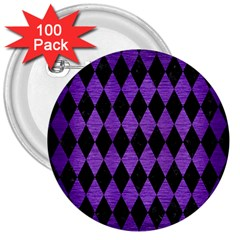 Diamond1 Black Marble & Purple Brushed Metal 3  Buttons (100 Pack)  by trendistuff