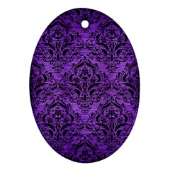 Damask1 Black Marble & Purple Brushed Metal Ornament (oval) by trendistuff