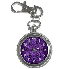 Damask1 Black Marble & Purple Brushed Metal Key Chain Watches by trendistuff