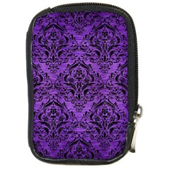 Damask1 Black Marble & Purple Brushed Metal Compact Camera Cases by trendistuff