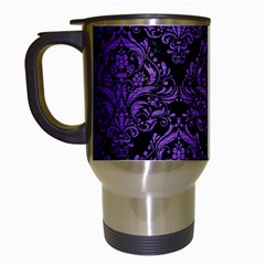 Damask1 Black Marble & Purple Brushed Metal (r) Travel Mugs (white) by trendistuff