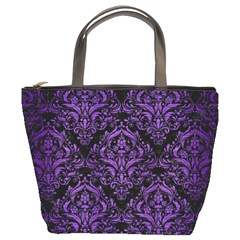 Damask1 Black Marble & Purple Brushed Metal (r) Bucket Bags by trendistuff