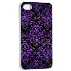 Damask1 Black Marble & Purple Brushed Metal (r) Apple Iphone 4/4s Seamless Case (white) by trendistuff