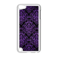 Damask1 Black Marble & Purple Brushed Metal (r) Apple Ipod Touch 5 Case (white) by trendistuff