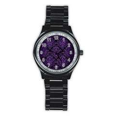 Damask1 Black Marble & Purple Brushed Metal (r) Stainless Steel Round Watch by trendistuff
