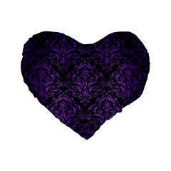 Damask1 Black Marble & Purple Brushed Metal (r) Standard 16  Premium Flano Heart Shape Cushions by trendistuff