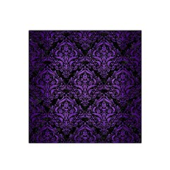 Damask1 Black Marble & Purple Brushed Metal (r) Satin Bandana Scarf by trendistuff