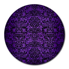Damask2 Black Marble & Purple Brushed Metal Round Mousepads by trendistuff