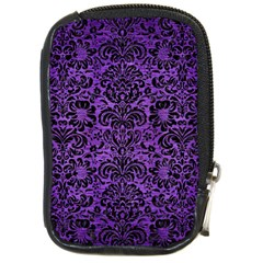 Damask2 Black Marble & Purple Brushed Metal Compact Camera Cases by trendistuff