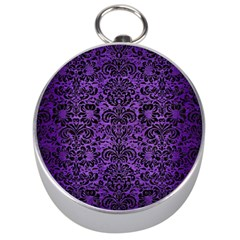Damask2 Black Marble & Purple Brushed Metal Silver Compasses by trendistuff